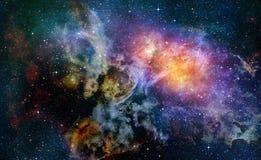 Sterrige diepe nebual kosmische ruimte en melkweg Stock Afbeeldingen