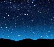 Sterrige hemel bij nacht stock illustratie