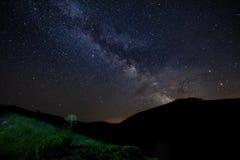 Sterrige hemel met Melkweg stock afbeelding