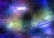 Sterrige hemel met nevels stock afbeelding
