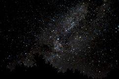 Sterrige hemel op nieuwe maannacht stock foto