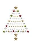Sterrige Kerstboom Royalty-vrije Stock Afbeeldingen