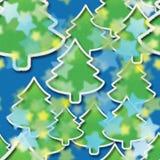Sterrige nacht in het bos van Kerstmis royalty-vrije stock afbeeldingen