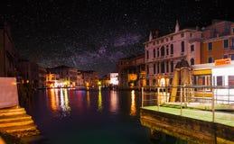 Sterrige nacht over wereldberoemd Venetië Grand Canal royalty-vrije stock foto