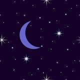 Sterrige nachthemel, naadloos patroon met de maan, toenemende maan Stock Foto's
