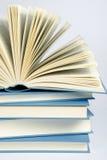 Sterta błękitne książki na bławym tle Obraz Stock