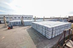 Sterta betonowi bloki zbliża budynek fabrykę Obraz Stock