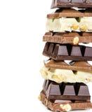 Sterta biel, mleko i zmrok czekolada, Obrazy Royalty Free