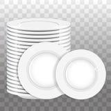 Sterta biel talerze i dwa talerza odizolowywających wektor Obrazy Royalty Free