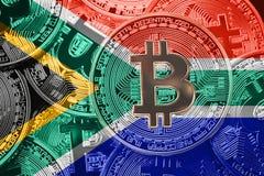 Sterta Bitcoin Sauth Afryka flaga Bitcoin cryptocurrencies przeciw Zdjęcia Stock