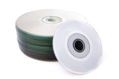 Sterta cd lub DVD na białym tle zdjęcie stock