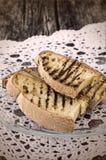 Sterta chlebowi grzanka plasterki Obrazy Stock