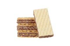 Sterta czekoladowi opłatkowi ciastka płytki DOF Zdjęcie Stock