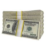 Sterta 100 dolarów banknotu rachunku usa pieniądze banknotu bielu tła odosobniony obraz stock
