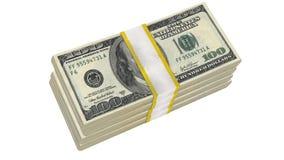 Sterta 100 dolarów banknotu rachunku usa pieniądze banknotu na białym tle obraz stock