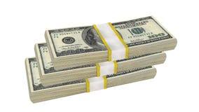 Sterta 100 dolarów banknotu rachunku usa pieniądze banknotu na białym tle zdjęcie stock