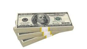 Sterta 100 dolarów banknotu rachunku usa pieniądze banknotu na białym tle zdjęcia stock