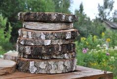 Sterta drewniany fiszorek Round cięcie puszka drzewo z korowatą teksturą Obrazy Royalty Free