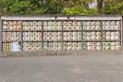 Sterta Japoński wino beczkuje przy świątynią w Kamakura, Japonia (sztuka dla sztuki) obrazy royalty free