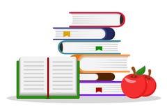 Sterta książki, otwarta książka i dwa czerwonego jabłka na bielu, royalty ilustracja