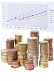Sterta monety i mapa Zdjęcie Stock