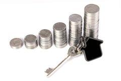 Sterta monety z domowym kształta kluczem Zdjęcia Stock