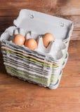 Sterta otwarci mi??szowi jajeczni kartony z kilka kurczak?w jajkami zdjęcia stock