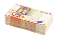 Sterta pięćdziesiąt euro banknotów Obrazy Stock