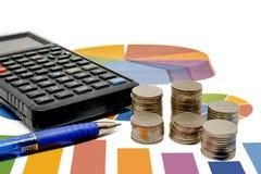 Sterta pieniądze moneta z kalkulatorem i pióro na dane sporządzamy mapę i wh Zdjęcie Royalty Free