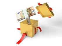 Sterta pieniądze skacze z prezenta pudełka na wiośnie Zdjęcie Stock