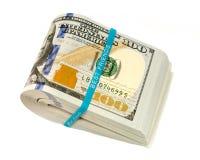 Sterta pieniądze w USA dolarach spienięża banknoty Fotografia Royalty Free