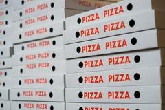 Sterta pizza boksuje, wiele pizza kartony Zdjęcie Royalty Free