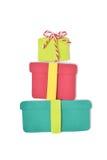 Sterta prezentów pudełek papier ciie na białym tle Obraz Stock