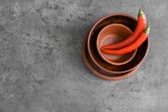 Sterta puchary i chili pieprze zdjęcia stock