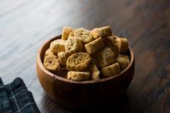 Sterta Round Kształtnego Crispy żyta Crouton Chlebowi ciastka/Crostini obrazy royalty free