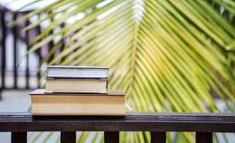 Sterta stara książka na drewnianym ogrodzeniu nad zamazanym zielonym liściem Obraz Royalty Free