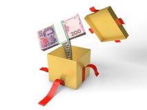Sterta ukraiński pieniądze skacze z prezenta pudełka na wiośnie Obraz Royalty Free