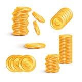 Sterta złociste monety z euro znakami pojęcia prowadzenia domu posiadanie klucza złoty sięgający niebo Obrazy Royalty Free