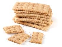Sterta zbożowi crispbreads odizolowywający na białym tle Fotografia Stock