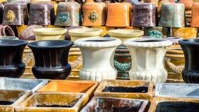 Sterty ceramiczni garnki i zbiorniki w Teksas Zdjęcia Royalty Free