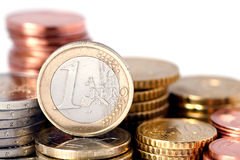 Sterty Euro monety Zdjęcia Stock
