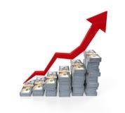 Sterty Nowi 100 dolarów amerykańskich banknotów Wzrasta wykres Obraz Stock