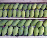 Sterty słodkiego aromata dojrzali zieleni mango owocowi na drewnianej stercie Obrazy Stock