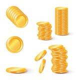 Sterty złociste monety Kolekcja ilustracje, ikony złoto Obrazy Royalty Free