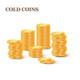 Sterty złociste monety Kolekcja ilustracje, ikony złoto Fotografia Stock