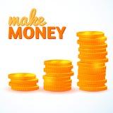Sterty złociste monety odizolowywać Obrazy Stock