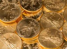 Kolekcja jeden uncjowe złociste monety Zdjęcia Royalty Free