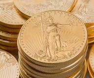 Kolekcja jeden uncjowe złociste monety Fotografia Royalty Free