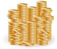 Sterty złociste monety, bogactwo, sukces, biznes Obrazy Stock