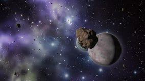Stervormig gebied met planeten en sterren royalty-vrije illustratie
